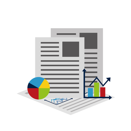 Statistics and infographics set icons with documents at the back. Illustration