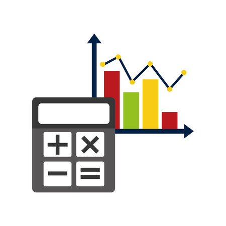 Statistics and infographic icon with calculator design.