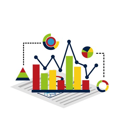 Statistics and infographics set of icons design.