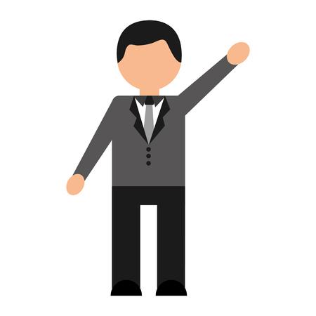 An avatar of a man wearing a business attire coat waving.