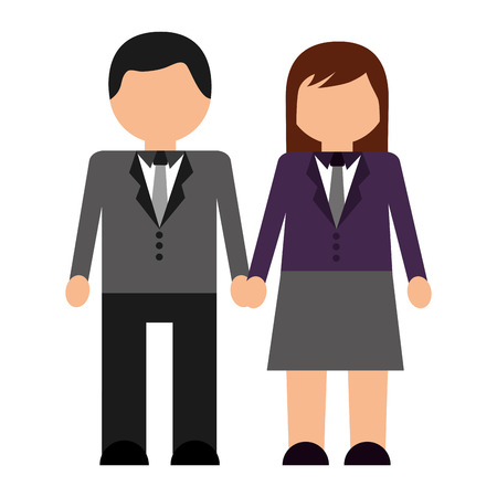 An avatar of a man and a woman in business attire holding hands. Illustration