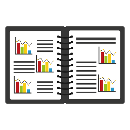 A notebook with statistics graphics.