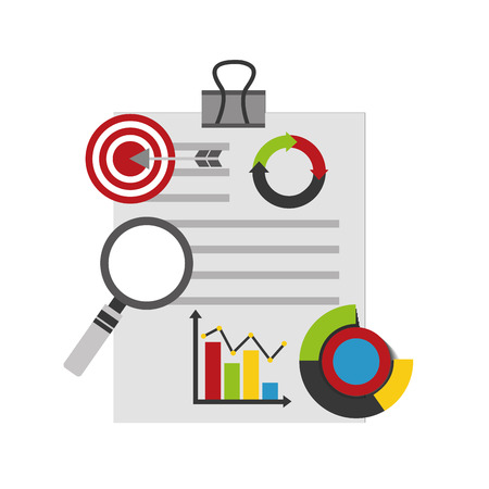 A clipboard with documents of statistics and infographics icons with target and arrow, and a magnifying glass.