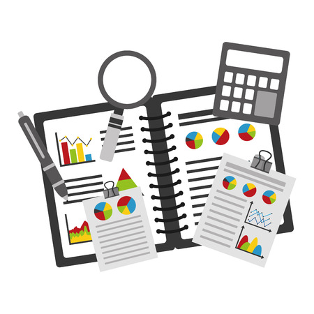 A notebook and a clipboard with sets of statistics and infographics icons with a pen, calculator, and a magnifying glass.