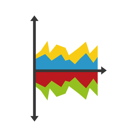 Isolated statistics graphic icon with arrow lines. Illustration