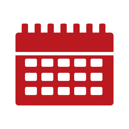 An isolated icon of a red calendar reminder. Illustration