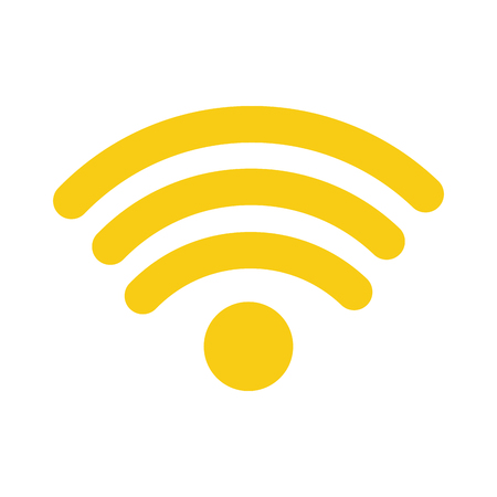 Isolated wireless internet signal icon in color yellow.