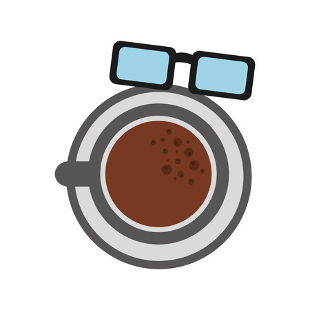 An isolated icons of coffee cup and reading glasses.
