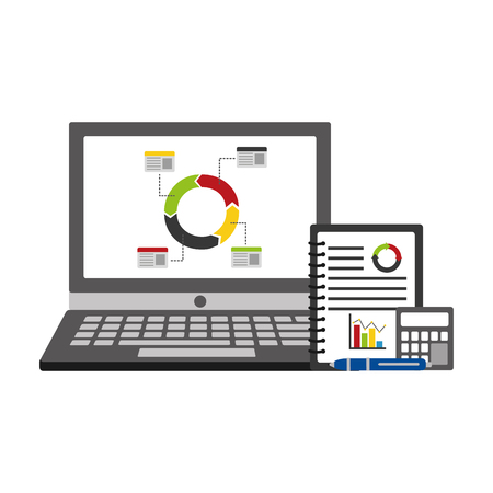 A laptop computer and notebook with statistics and infographics set of icons with a calculator and pen on the side. Ilustração