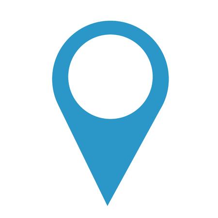 Un icono de ubicación de puntero de pin en azul. Ilustración de vector