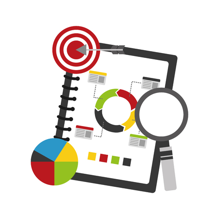 A noteblook with statistics and infographics set of icons with magnifying glass and target and arrow on the side.