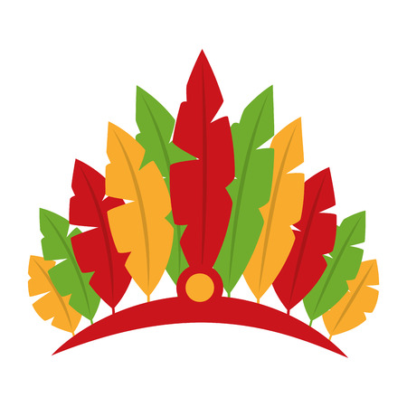 An isolated icon of a carnival hat in red with feathers in yellow orange, red, and green colors.