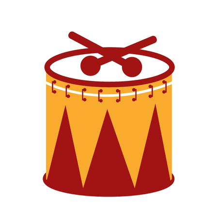 Carnival drum instrument icon design. 向量圖像