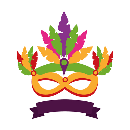 Isolated icons of banner and carnival mask with feathers illustration design.