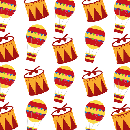 Set of icons of carnival drums and hot air balloons pattern illustration design.