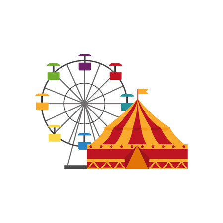 Set icon of the circus tent and wheel fortune illustration design.