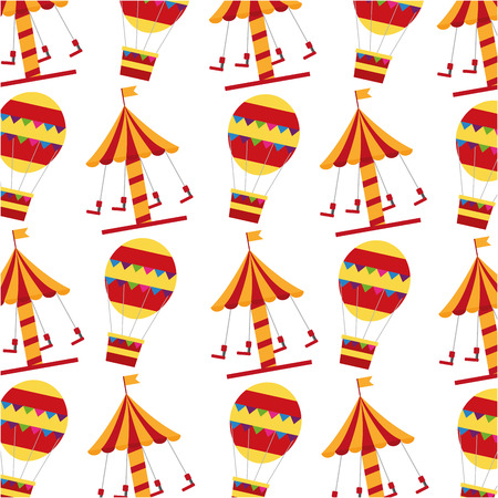 Set icons of a carousel carnival with hot air balloons pattern design. Illustration