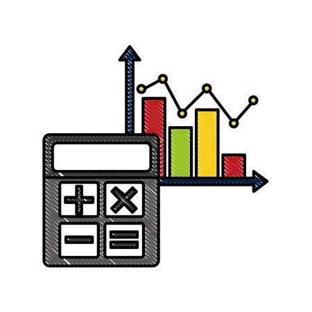 Statistics infographic with calculator vector illustration design Illustration