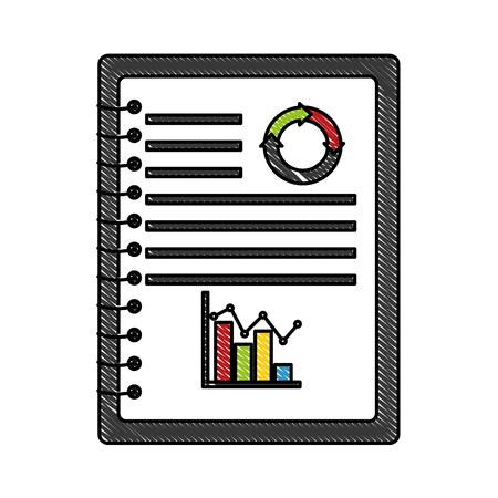 statistics graphic in notebook vector illustration design