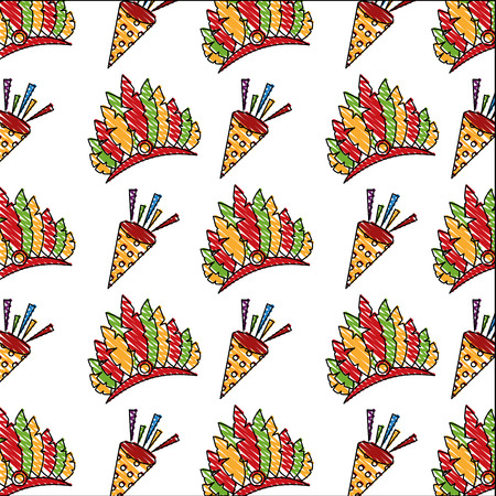 carnival hat with feathers and cornet pattern vector illustration design