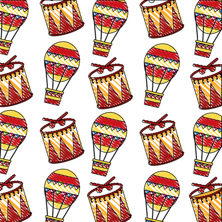 carnival drums and balloons air hot pattern vector illustration design