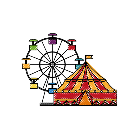 circus tent and wheel fortune vector illustration design 向量圖像