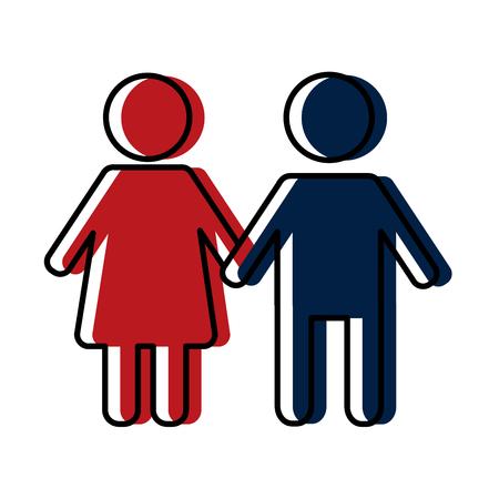 Avatares de siluetas de géneros de pareja, diseño de ilustraciones vectoriales