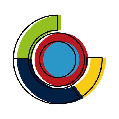 statystyki graficzny okrągły ikona na białym tle projekt ilustracji wektorowych Ilustracje wektorowe