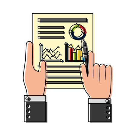 hands with statistics graphic in document vector illustration design Ilustrace