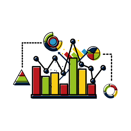 Statistics and infographics set icons vector illustration design. Иллюстрация