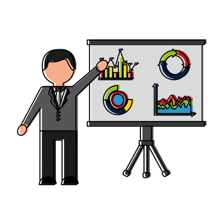 Businessman with paperboard training and statistics vector illustration. Ilustrace