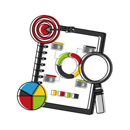 Statistics and infographics set icons vector illustration design. Ilustração