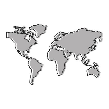 ワールドマップシルエットアイコンベクトルイラストデザイン