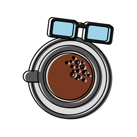 Coffee cup and glasses isolated icon vector illustration design. Çizim