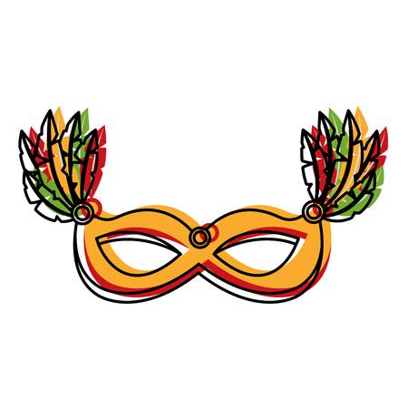 carnival mask isolated icon vector illustration design Çizim