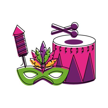 Drum and carnival elements vector illustration design.