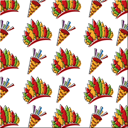 carnival hat with feathers and cornet pattern vector illustration design Foto de archivo - 98868031