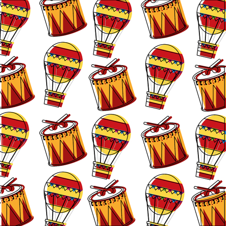 carnival drums and hot air balloons pattern vector illustration design