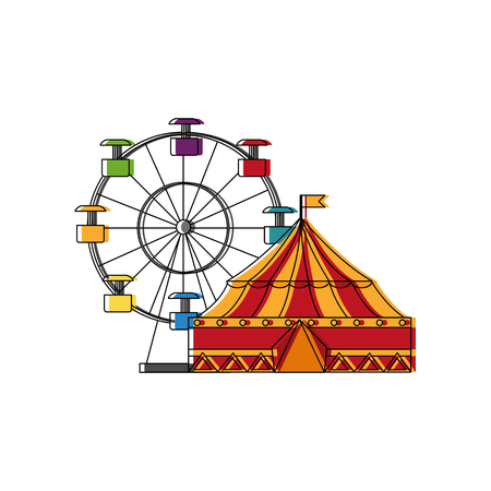 circus tent and wheel fortune vector illustration design Illustration