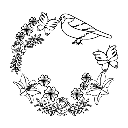 wreath flowers with butterflies birds and branches vector illustration Иллюстрация