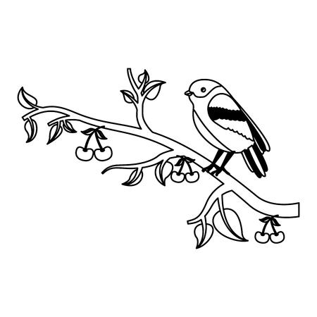 bird on tree cherry branches leaves nature vector illustration Illustration