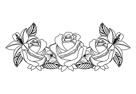 romantic arrangement of flowers roses and leaves ornament vector illustration