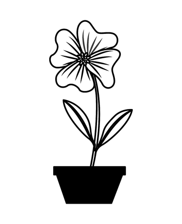 flower periwinkle in a pot decoration icon vector illustration Çizim