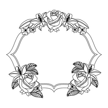 Delicate decorative vintage label flowers decoration vector illustration. Illustration