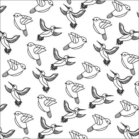 Cute decorative flying birds decoration background vector illustration.