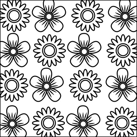 decorative flowers sunflower daisy natural textile pattern vector illustration
