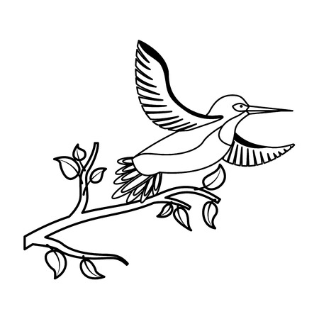 bird open wings feathers in the tree branch vector illustration