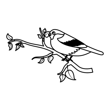 cute bird in the tree branch wildlife vector illustration Ilustrace