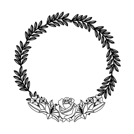 Floral wreath roses and lilies decoration branches vector illustration. Illustration