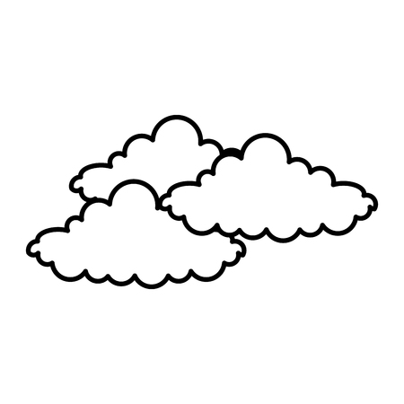 Cloudy day concept in black and white Illustration.